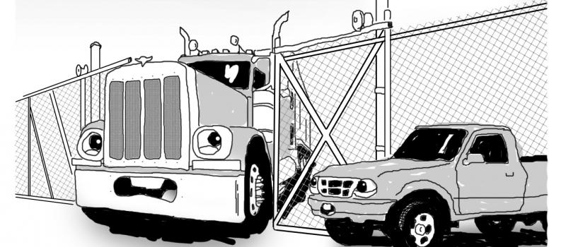 semi stuck in gate